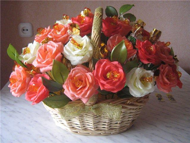 Корзина из цветов-конфет своими руками