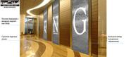 Водопады по стеклу с логотипом организации,  офисные перегородки