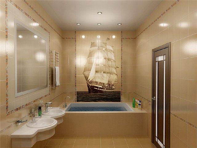 Дизайн ванной комнаты зеленый.