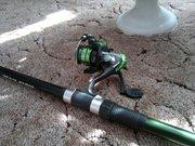 Удочка телескопическая в сборе с катушкой,  леской,  крючком и поплавком