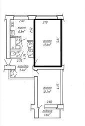 Комната в 2-х комнатной квартире – площадь 17, 8 кв.м,  ул.Богдановича, 8