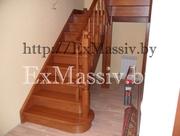 Деревянная лестница из массива на второй этаж в Минске заславле слуцке