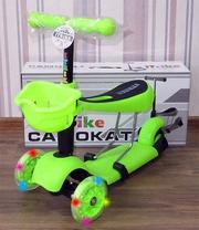 Детский самокат + беговел RS iTRIKE 2в1 (салатовый)