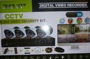 видеонаблюдения,  для улицы 4 камеры с видеорегистратором  и проводами