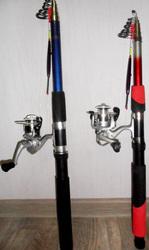 Удочки оснащённые для рыбалки.