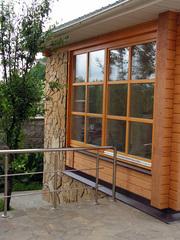 Окна из массива сосны для дачи.