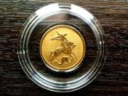 Золотая монета Георгий Победоносец,  номинал 50 рублей