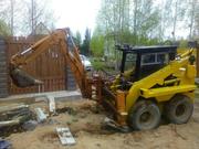 Мини экскаватор в Ратомке. Планировка участка,  копка ям,  траншей