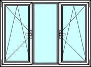 Трехстворчатые алюминиевые окна из профиля Алютех серии ALT W72
