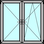Двустворчатые алюминиевые окна из профиля Алютех серии ALT W72