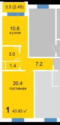 1-комнатная в Дзержинске