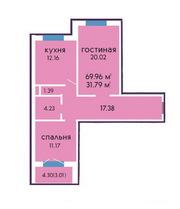 Большая двухкомнатная новостройка,  70 кв.м. в Дзержинске